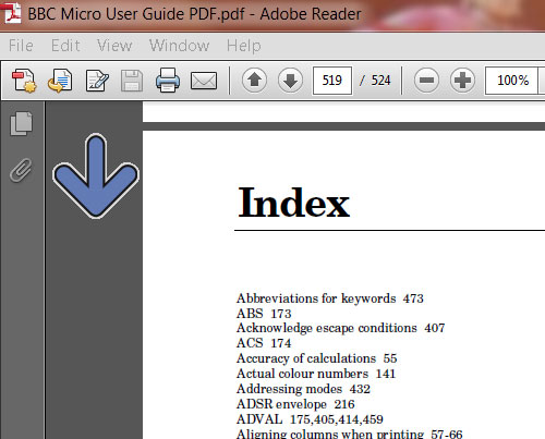 Image of the index page of a PDF document, with a blue arrow pointing down the page.