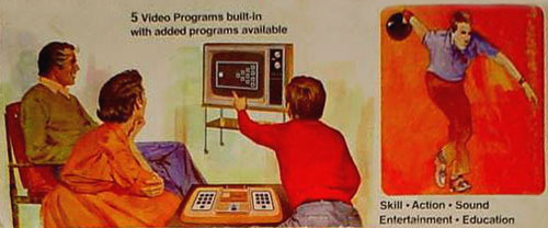 Image from the box of an RCA Studio II console. A 1970's family playing Bowling on their TV alongside the image of a player bowling.