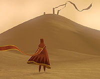 Image of a sand dune and robed figure in the foreground from the game Journey. Made accessible with two-switches.