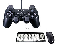 Image of a Dual-Shock joypad above a mouse and keyboard.