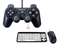 Joy To Key. Image of a Playstation joypad with arrow pointing to a keyboard and mouse.
