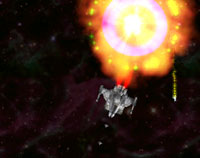 Switch Video Games - image of a space ship with a huge explosion behind it. Taken from one-switch game Aurikon.