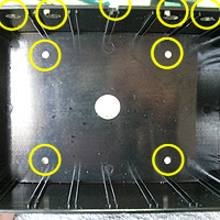 3. Making Holes. holes to drill from inside of joystick box.