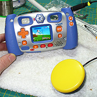 8. Testing: Switch adapted VTech Kidizoom camera, with the duck-camera-shoot game displayed.