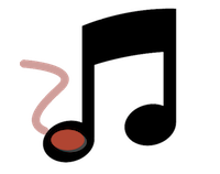 Music Player/Shortcutter for PC. Image of a musical note with a switch in the foot of the double-quaver.