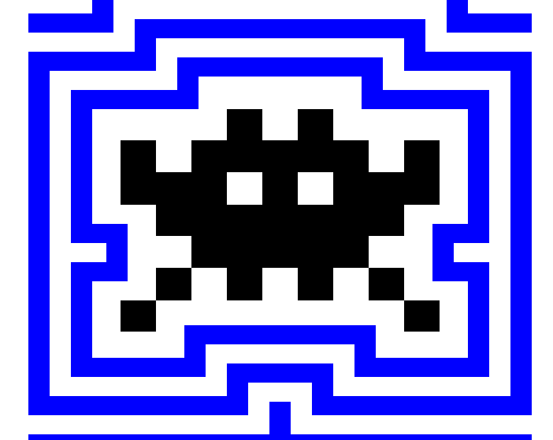 Image of a Space Invader outlined in radiating blue and white chunky lines.